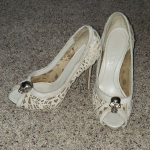 Alexander McQueen peep toe cream heels like new